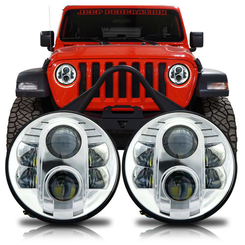 APOLLO Chrome Projector LED Headlights for Wrangler JL & Gladiator 2018+