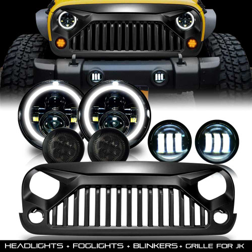 Combo Grill+ Headlights + Blinkers + Fog Lights for Jeep Wrangler JK 2007-2018