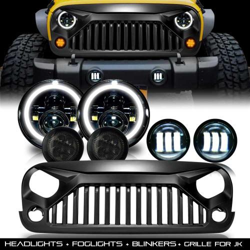Combo Grill+ Headlights + Blinkers + Fog Lights for Jeep Wrangler JK 2007-2017