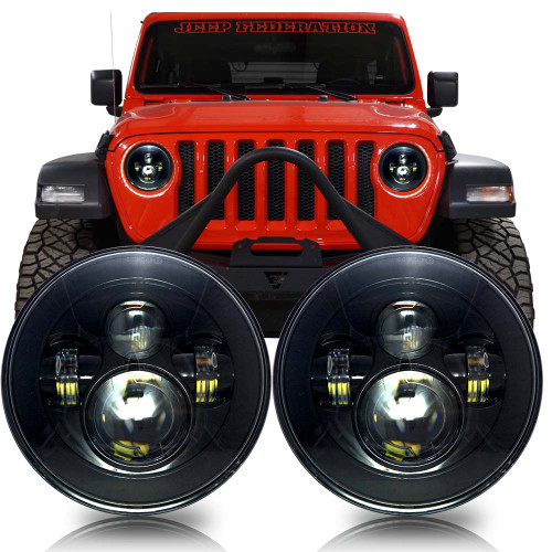 Projector Black LED Headlights for Wrangler JL & Gladiator 2018+