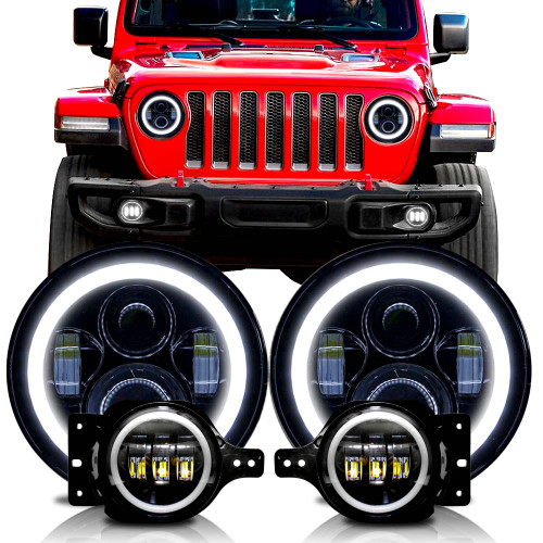 Halo Headlight Fog Light Combo for Wrangler and Gladiator 2018 up