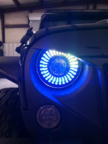 Demon Eye HALO Projector Black LED Headlights for Wrangler CJ TJ JK