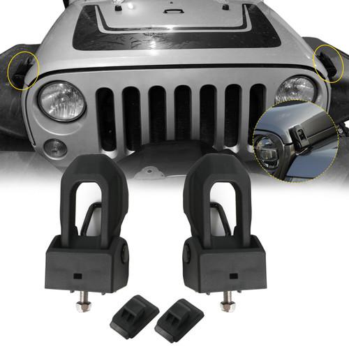 Hood Lock Catch Bracket Latches for Jeep Wrangler JK JL (2007-2018) Black