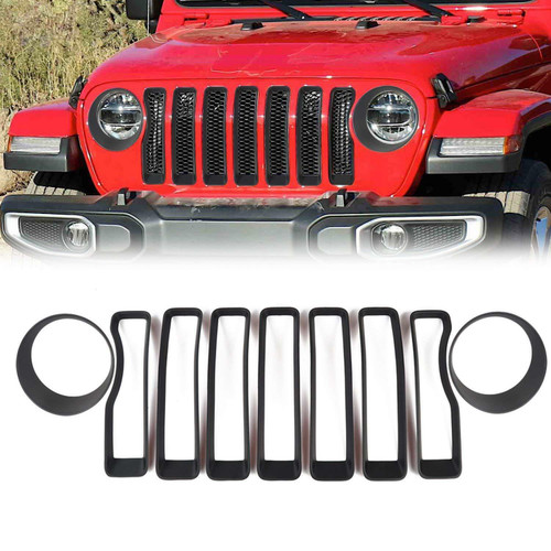 Grille Inserts Covers & Headlight Cover For Jeep Wrangler JL 2018  Black