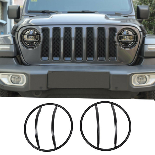 Front Headlight Lamp Guard Cover for Jeep Wrangler JL (2018 2019) Metal Black