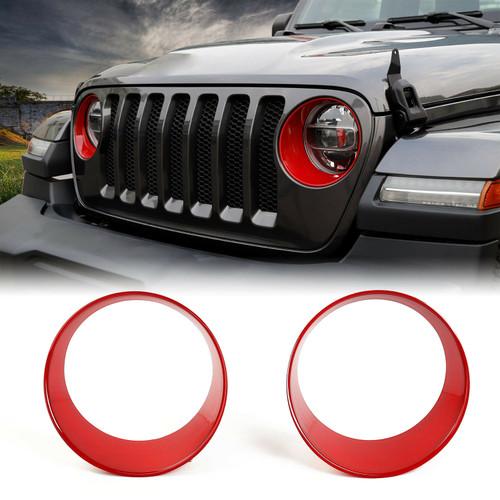 Front Headlight Red Trim Cover Bezels For Jeep Wrangler Sahara Sport JL 2018+