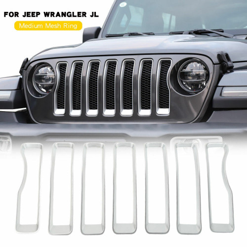 Front Grille Grill Insert Cover Trim Fit Jeep Wrangler JL Rubicon 2018+ Silver