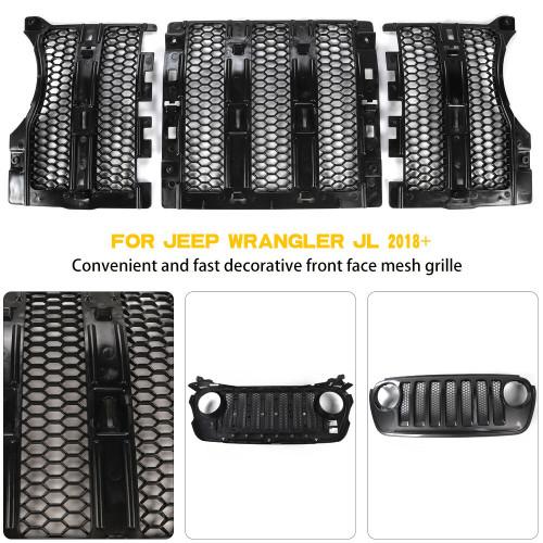 Honeycomb Grille Inserts for Jeep Wrangler JL 2018+ Black