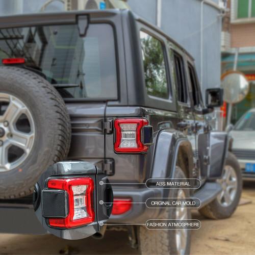 Rear Tail Light Lamp Panel Frame Trim for  Jeep Wrangler JL 2018+ Carbon Fiber