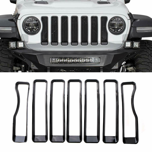 Front Grille Inserts Covers Grill Trim for Jeep Wrangler JL Sport 2018+
