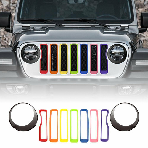 Front Grille Grill Inserts Rainbow & Black Headlight Covers for Jeep Wrangler JL 2018+