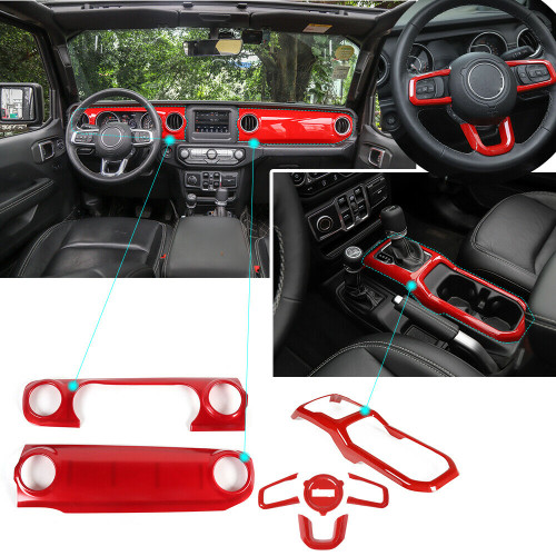 Steering Wheel+Center Console+Gear Panel Cover Trim For Jeep Wrangler JL (2018-2020) Red