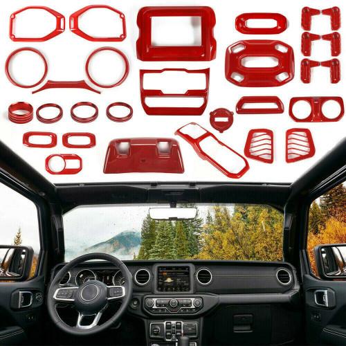 Full Set Interior Decoration Trim Kit for Jeep Wrangler JL 2018+ Red