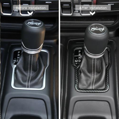 Gear Shift Plate Cover For Jeep Wrangler JL 2018+  Carbon Fiber
