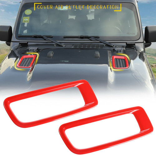 Hood Vents Panel Cover Trims for Jeep Wrangler JL 2018+ Red