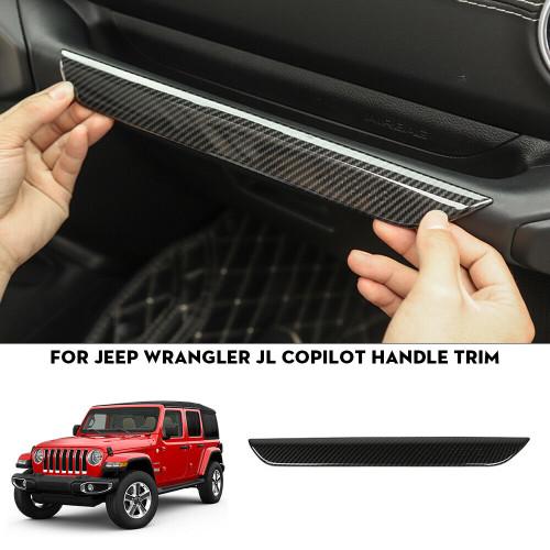 Copilot Side Grab Handle Bar Trim for Jeep Wrangler JL 2018+ Carbon Fiber Finish