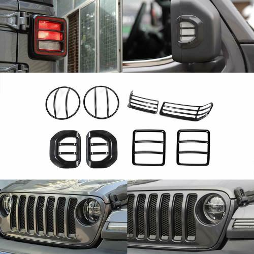 Headlight Wheel Eyebrow Side Turn Signal Tail Light Cover Kit For Jeep Wrangler JL 2018+