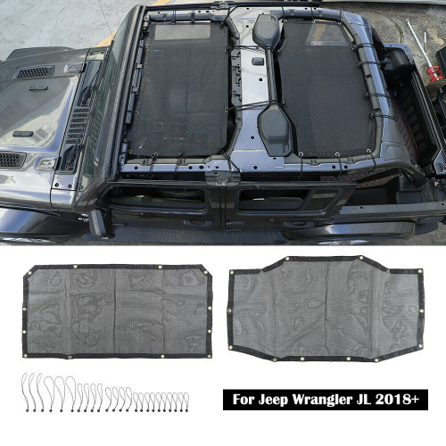 Twin Mesh Bikini Shade Top Cover for Jeep Wrangler JL 4DR 2018+