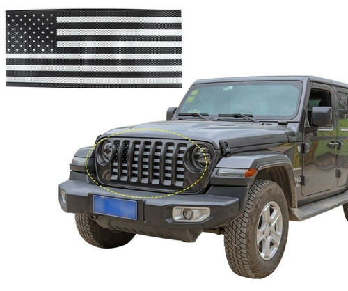 Front Grille Insert American Flag Mesh for Jeep  Wrangler JL 2018+
