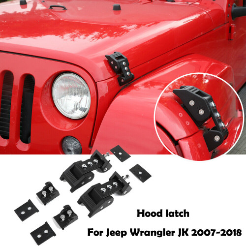 Hood Latch Locking Buckle For Jeep Wrangler JK JL Unlimited 2007-2017 Pair