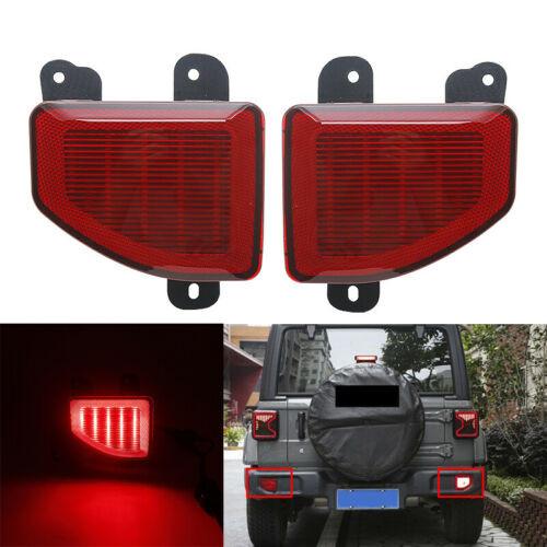 Red Lens LED Rear Bumper Brake Tail Light  For Jeep Wrangler JL 2018+