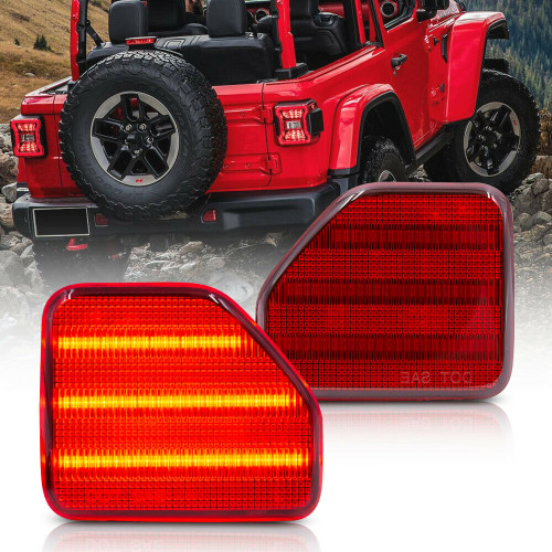 Rear Bumper Reflector Tail Light for Jeep Wrangler JL 2018+ Red Lens and LED