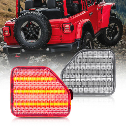 Rear Bumper Reflector Tail Light for Jeep Wrangler JL 2018+ Clear Lens Red LED