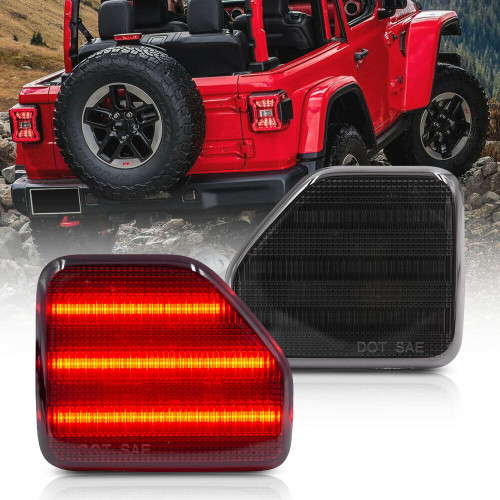 Rear Bumper Reflector Tail Light for Jeep Wrangler JL 2018+ Smoke Lens Red LED
