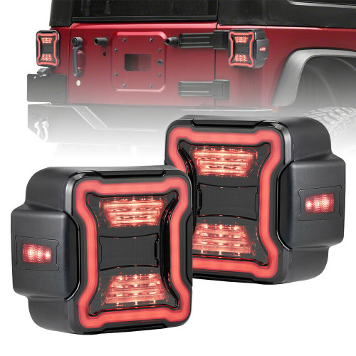 Tail Lights Smoked Lens W/Reverse Turn Signal Lights for Jeep Wrangler JL 2018+