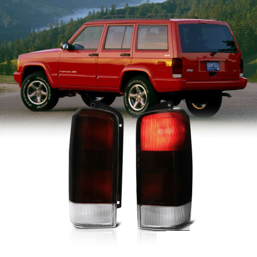 Tail Lights Assembly Smoked Red Lens For Jeep Cherokee XJ (1997-2003)