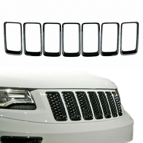 Gloss Black Grille Trim 7 Piece Ring Set for Jeep Grand Cherokee 2014-2016