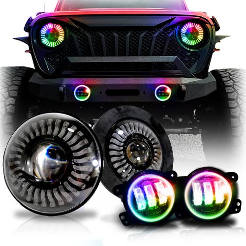 Demon Eye LED Headlights and Fog Lights for Wrangler JL JLU  Gladiator 2018 Up
