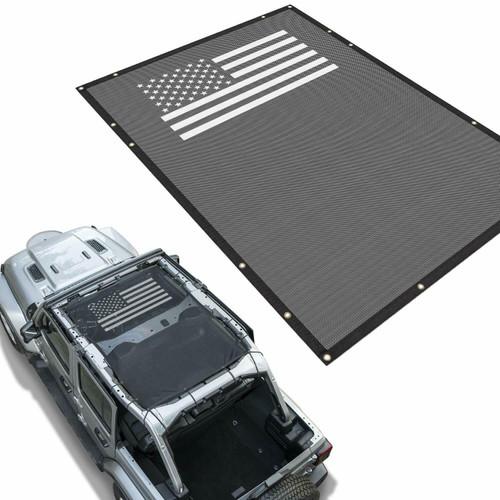 Flag Mesh Shade Top  Cover for Jeep Wrangler JL JLU 4-Door 2018-2021