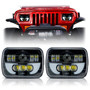 DEMON LED Black Projector Headlights w/DRL for XJ and YJ