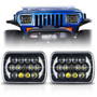 XPE Honeycomb LED Black Projector Headlights w/DRL for XJ and YJ