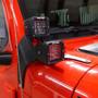 Quad LED Pod Cube Lower Windshield Pillar Light Mount Kit for Wrangler JL 2018+