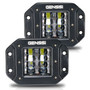 Flush Mount Four Row Cube Pod LED 3 Inches Auxiliary Lights Black (PAIR)