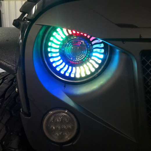 Demon Eye LED Headlights Color Changing Halo Wireless for Jeep