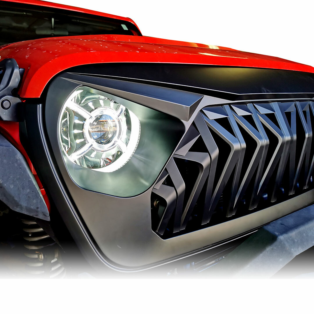 New! Gladiator Warrior Mesh front grille for the new JL JLU Gladiator 2018+ Wranglers. Fits all models with the new body style made 2018 and up.
