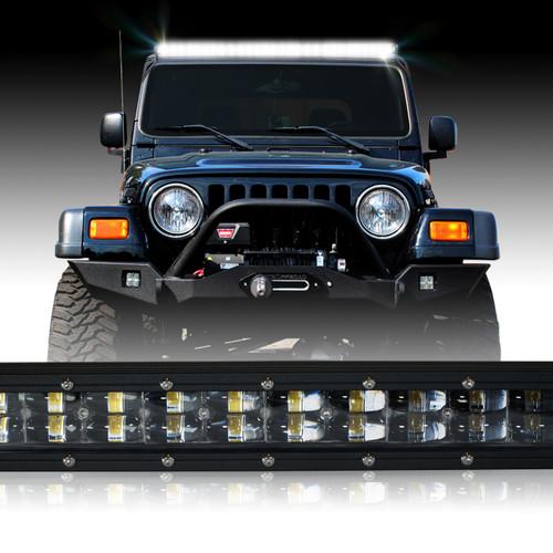 LED Light Bar 288W 50 Inches Bracket Wiring Harness Kit for Wrangler TJ  1997-2006 - JEEPFEDERATIONJeepFederation.com
