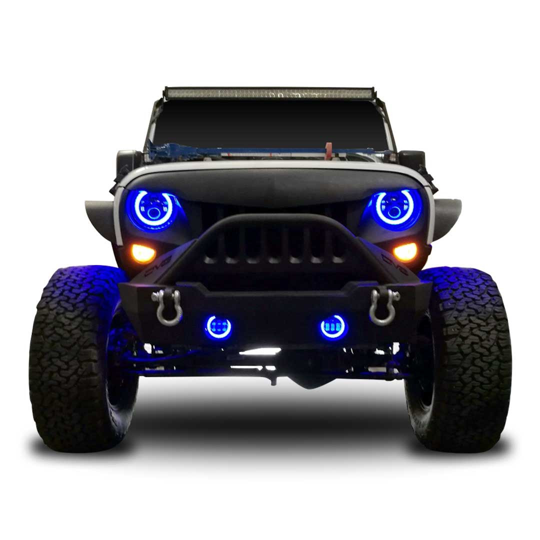 Blue Jeep LED fog Lights Head Lights