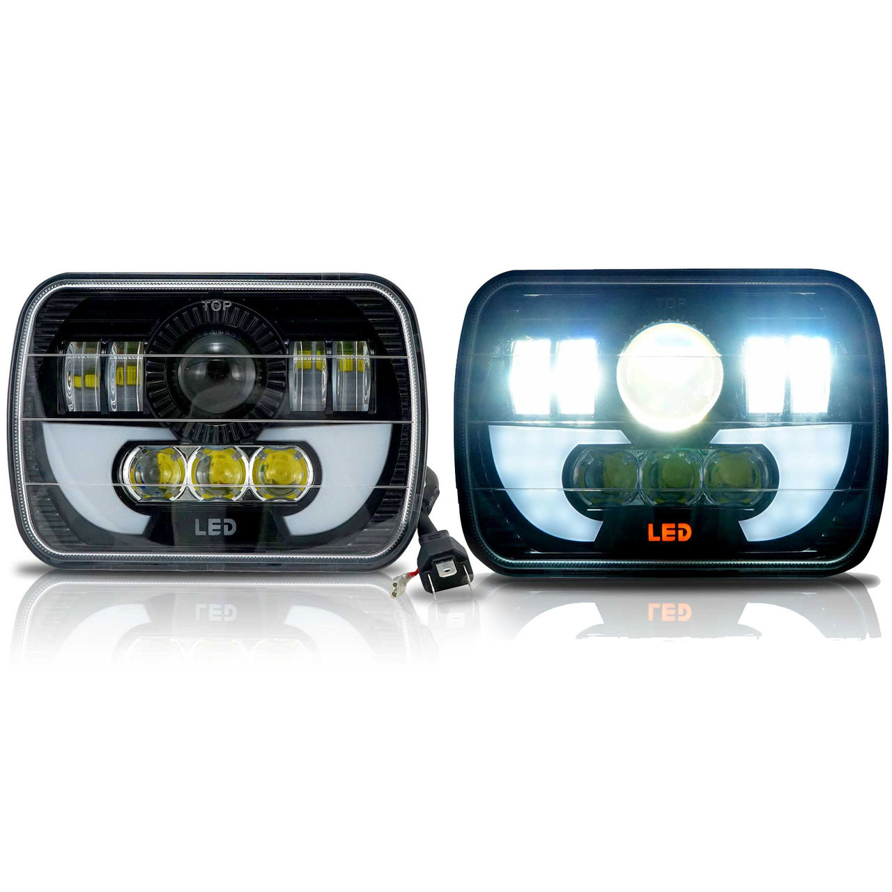Black Projector Headlights w/DRL for XJ and YJ