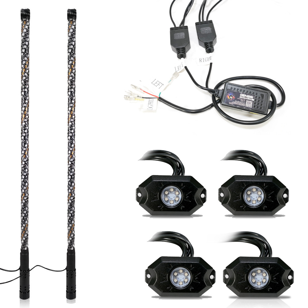 2x LED Whip light + 4 PODS Under Car Glowing Rock Lights