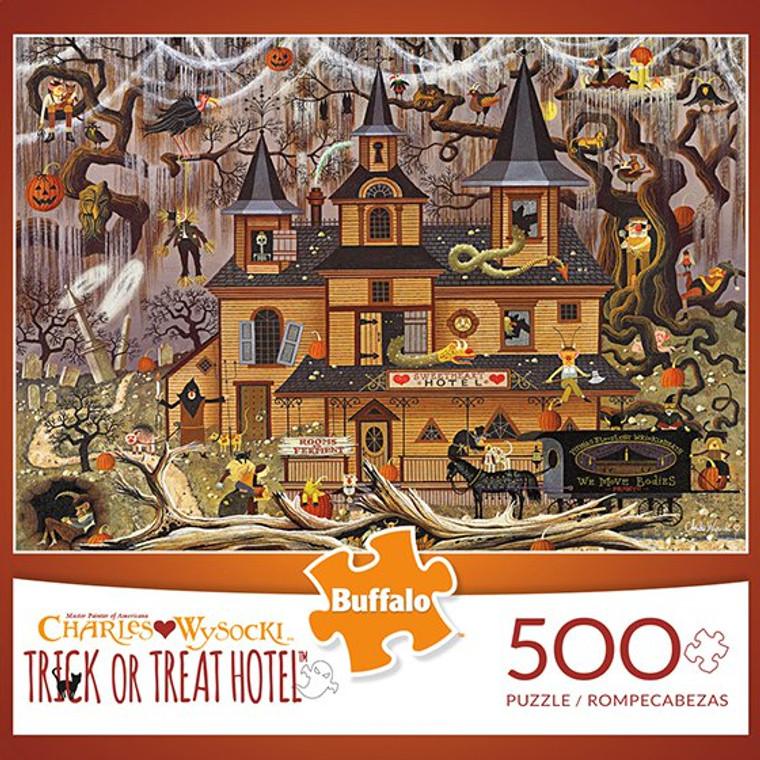 Charles Wysocki Trick or Treat Hotel 500 Piece Jigsaw Puzzle Box