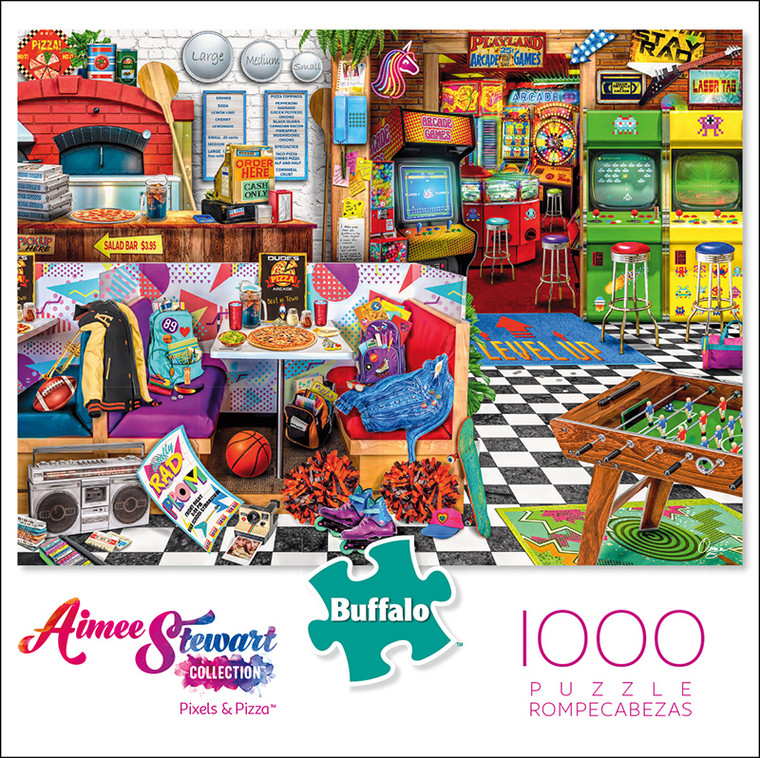 Aimee Stewart Collection: Pixels and Pizza 1000 Piece Jigsaw Puzzle Box