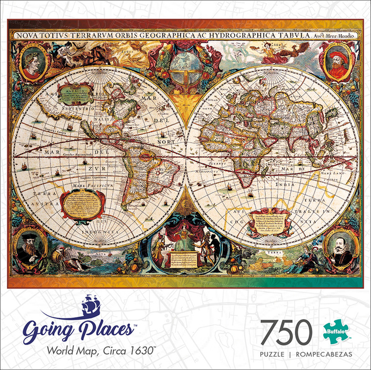 Going Places World Map, Circa 1630 750 Piece Jigsaw Puzzle Box