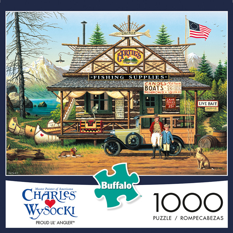 Charles Wysocki Proud Little Angler 1000 Piece Jigsaw Puzzle Box