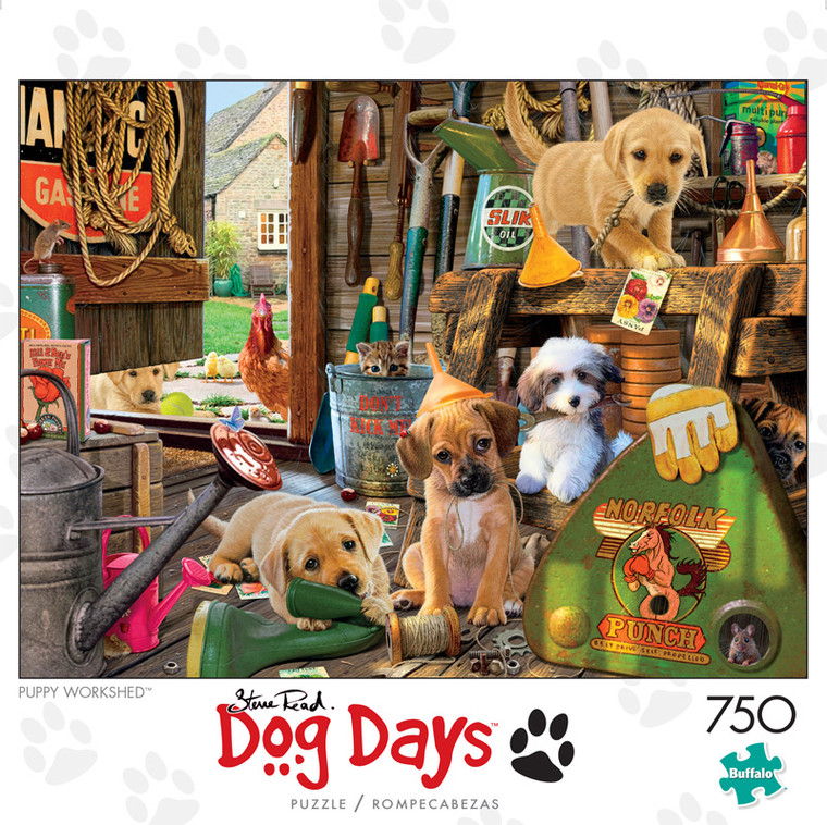 Dog Days For Puppy Workshed 750 Piece Jigsaw Puzzle Front