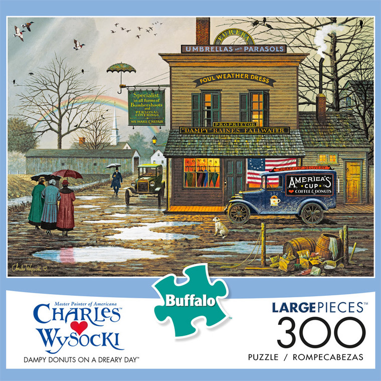 Charles Wysocki Dampy Donuts on a Dreary Day 300 Large Piece Jigsaw Puzzle Front