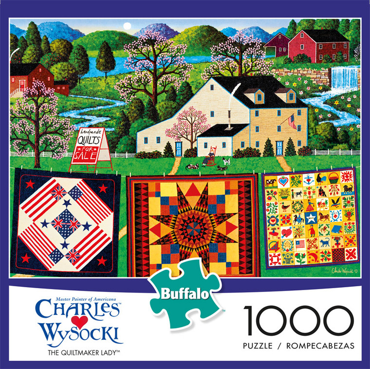 Charles Wysocki The Quiltmaker Lady 1000 Piece Jigsaw Puzzle Front